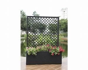 Pflanzkubel lafiora polyrattan mit rankgitter 103x34x140 for Garten planen mit pflanzkübel mit rankgitter rattan