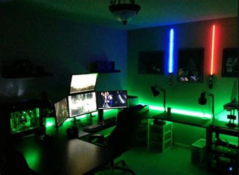 led lights for gaming setup green and blue led light gaming rooms setup
