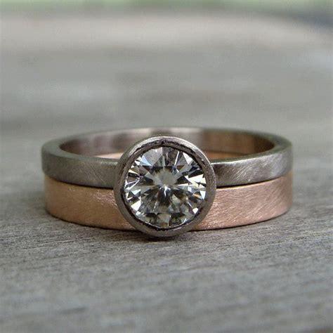 moissanite engagement ring wedding band