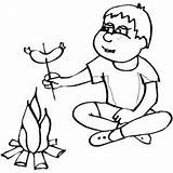 Campfire Sausage Boy Coloring Pages Preparing Printable Outdoor Freeprintablecoloringpages Print sketch template