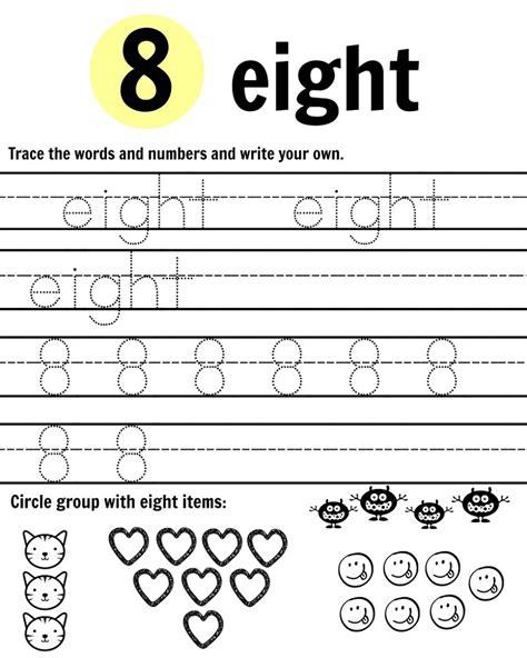 number 8 worksheet tracing kiddo shelter