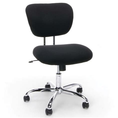 essentials swivel upholstered armless chrome office chair