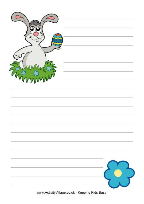easter bunny writing paper printable