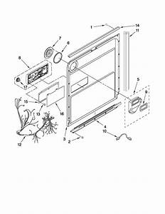 Door And Latch Parts Diagram  U0026 Parts List For Model Kudc03ivwh3 Kitchenaid