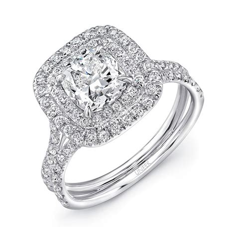 uneek lvs914 0 65ctw double cushion halo engagement ring