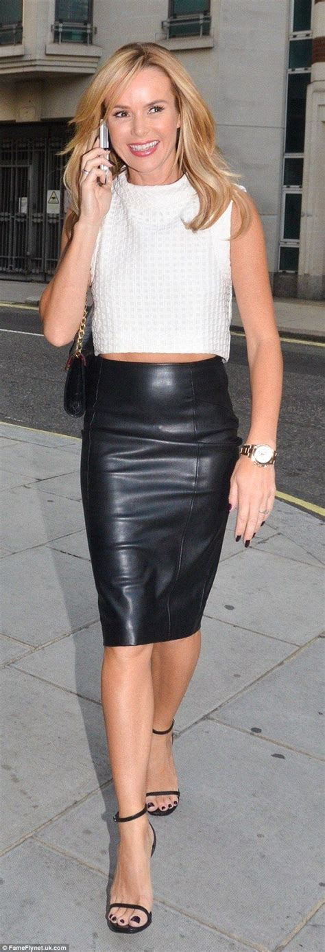 amanda holden sports leather skirt at breeders opening lll