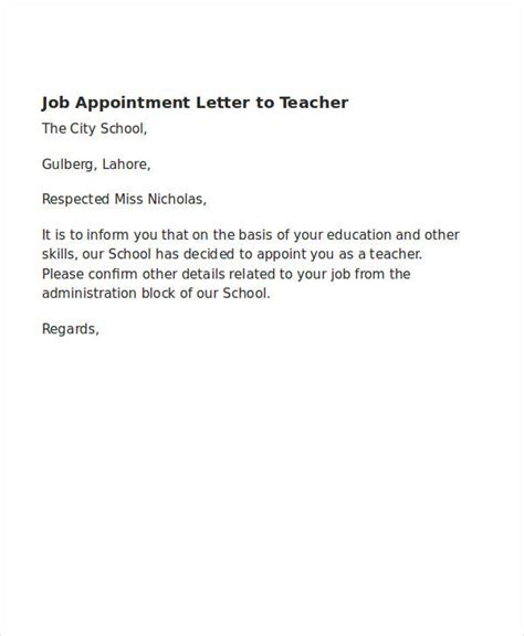 simple appointment letter sample word  daily