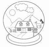Coloring Snow Globes Crystal Ball Crystals Sketch sketch template