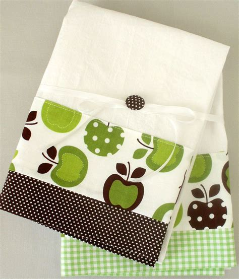 Kitchen Towel Fabric kitchen towel with apple pattern in green and brown cotton