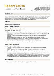 Lead Press Operator Resume Samples