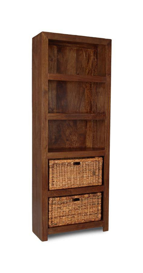 Dakota Tall Shelves With Rattan Baskets  Trade Furniture