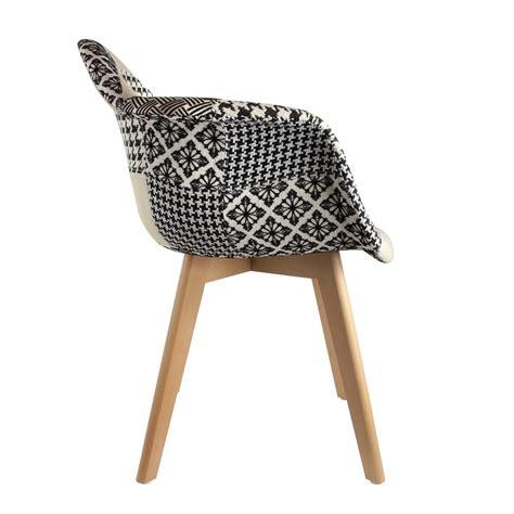 chaise noir et blanc lot de 2 fauteuils design scandinave patchwork noir et blanc