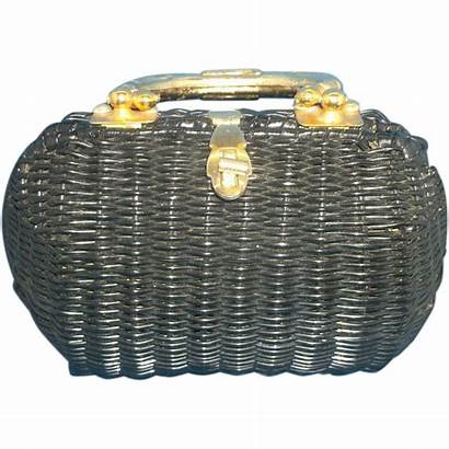 Hong Kong Wicker British Handle Brass Handbag