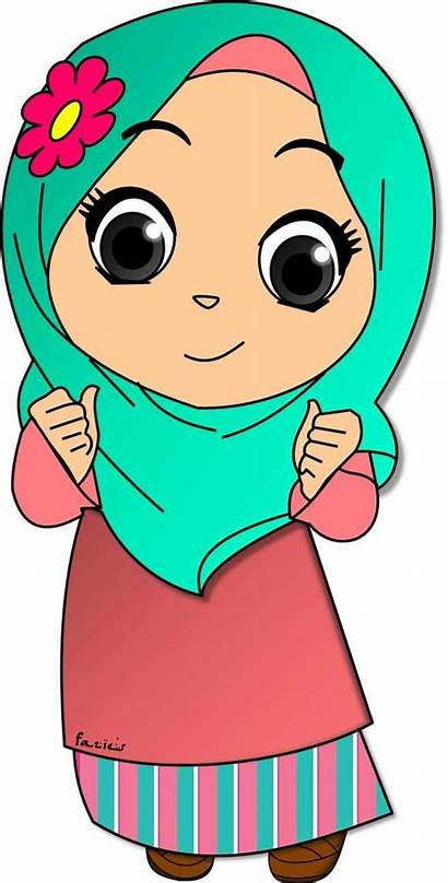 Cartoon Muslimah Muslim Clipart Clip Drawing Islamic