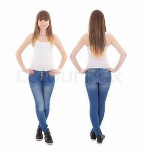 Front and back view of teenage girl in white t-shirt ...