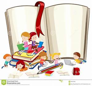 Children Reading Books Together Stock Vector - Image: 66022098