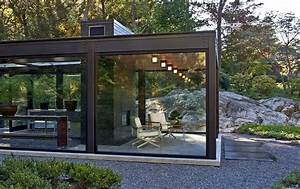 Outdoor living room in the glass house