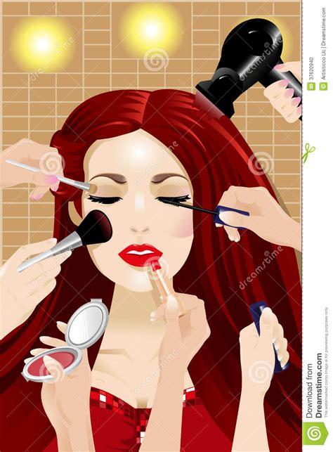hands applying makeup   woman head stock vector