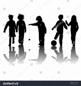 School Kids Friends Silhouettes Girls Boys Stock Vector ...