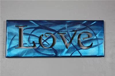 metal art canvas love metallic blue