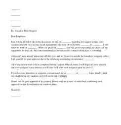 Vacation Time Off Request Letter