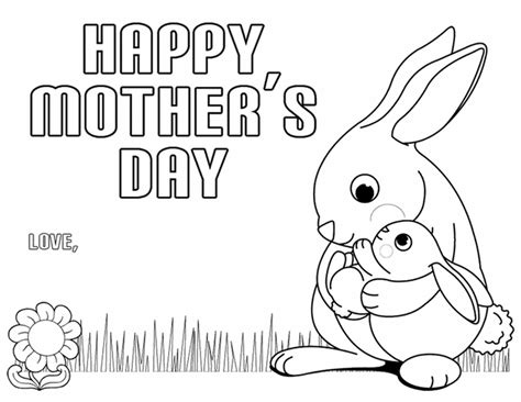 mother  day coloring pages happy mother  day bunn