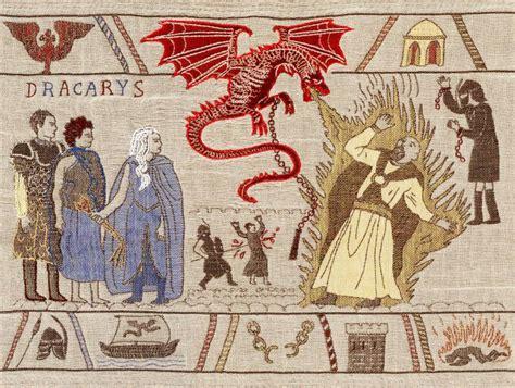 juego de tronos escenas sangrientas bordadas en  tapiz