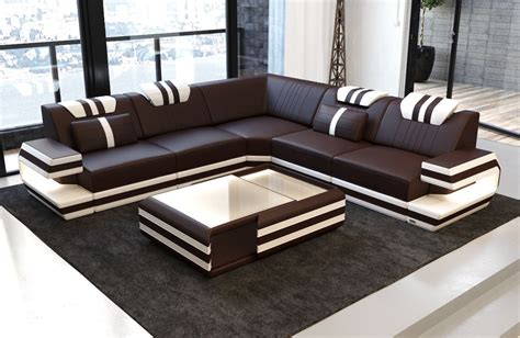 Modern Leather Sofa Hollywood With Led Gblackwhite