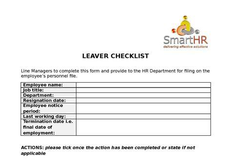 leavers checklist template