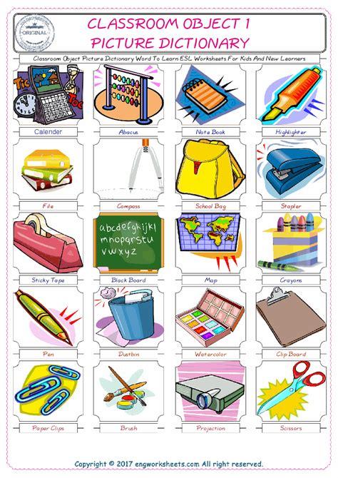 classroom object esl printable english vocabulary worksheets