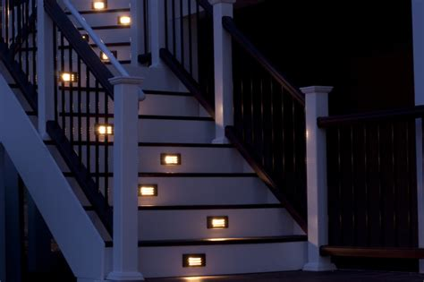 Delta Bathroom Lighting by Composite Deck Staircase With Path Lights Traditional