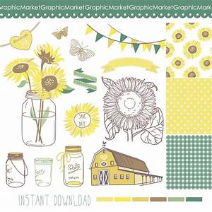 sunflowers mason jars and digital papers clip art for With paper clips for wedding invitations