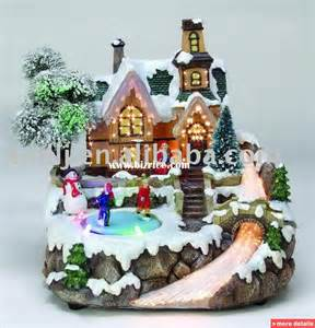 rotatable christmas village led house china christmas decoration supplies for sale from xiamen