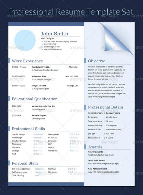 professional resume template set by khatrijiya graphicriver