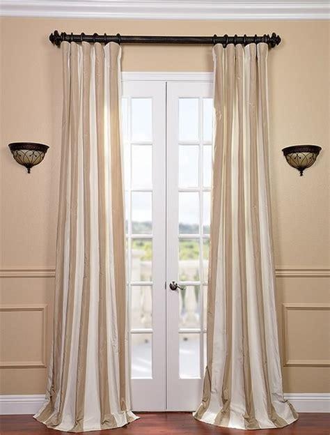 cappuccino faux silk taffeta stripe curtain contemporary