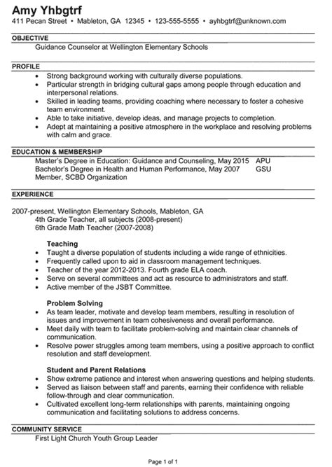 Career Resume Template by Counselor Resume Exle Career Counseling Sle Resumes