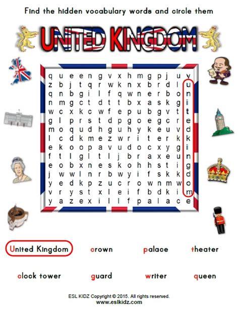 united kingdom worksheets activities games