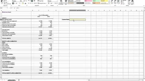 calculating current ratio  excel youtube