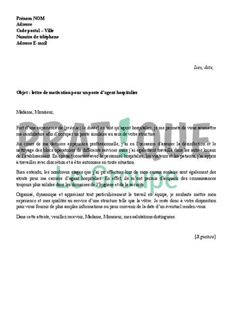 lettre de motivation pour un emploi d de service hospitalier pratique fr