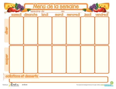 cuisiner le dimanche pour la semaine modèle de menu de la semaine à imprimer planning de repas sous forme de semainier vierge
