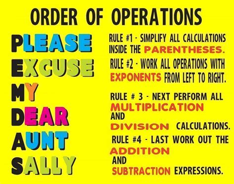 Make A Poster About Order Of Operations  Mathematics Poster Ideas