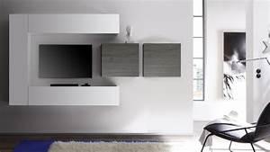 Meuble Tv Avec Etagere : meuble suspendu de salon ~ Teatrodelosmanantiales.com Idées de Décoration