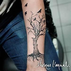 Tatouage Prenom Avant Bras Homme : tatouage arbre avec oiseaux avant bras homme avant bras tatouages et oiseaux ~ Melissatoandfro.com Idées de Décoration