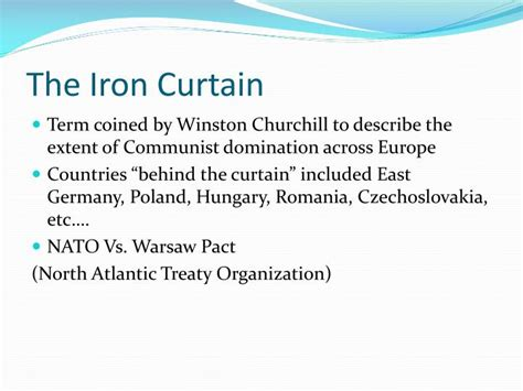 who coined the term iron curtain quizlet ppt 1950 s the cold war powerpoint presentation id 2825601