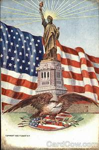 statue of liberty american flag and bald eagle patriotic