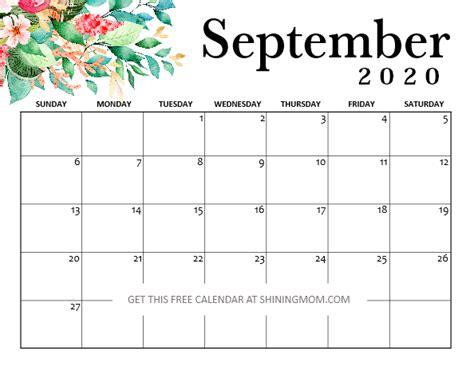 printable september  calendar  pretty styles