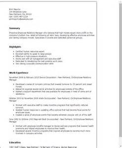 resume for relations executive professional employee relations manager templates to showcase your talent myperfectresume