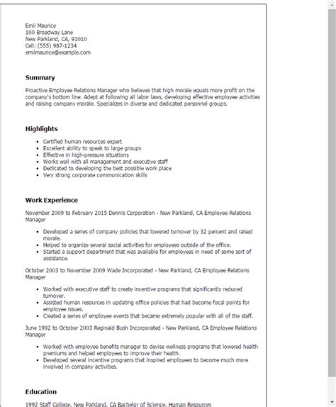Labor Relations Description Resume by Professional Employee Relations Manager Templates To