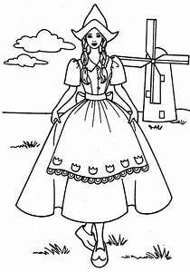 Dutch Girl Standing in Front of Windmills Coloring Pages ...