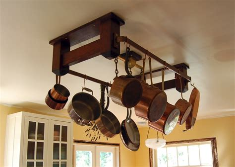 kitchen pot hanging rack with lights the of a craftsman home kitchen pot rack 9530